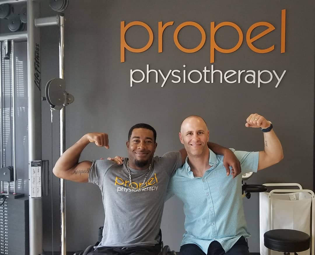 Athlete sponsorship Anthony Lue hand cyclist Propel Physiotherapy