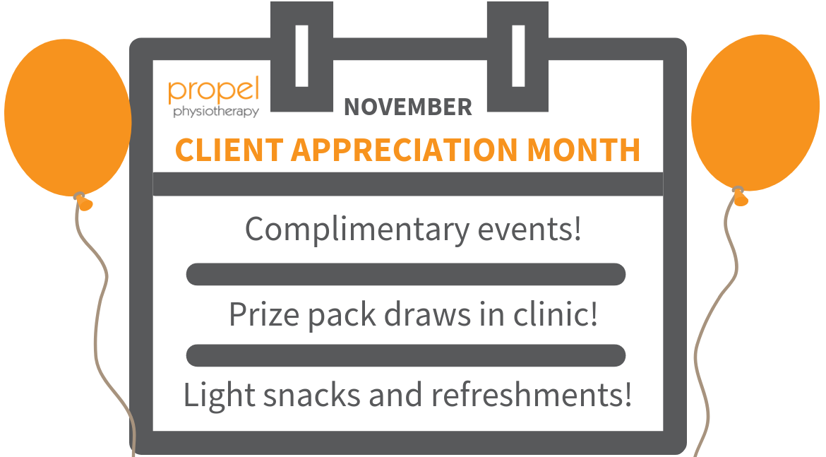 Client Appreciation Month graphic Propel Physiotherapy