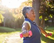 elderly woman exercising exercises to prevent osteoporosis propel physiotherapy etobicoke and pickering