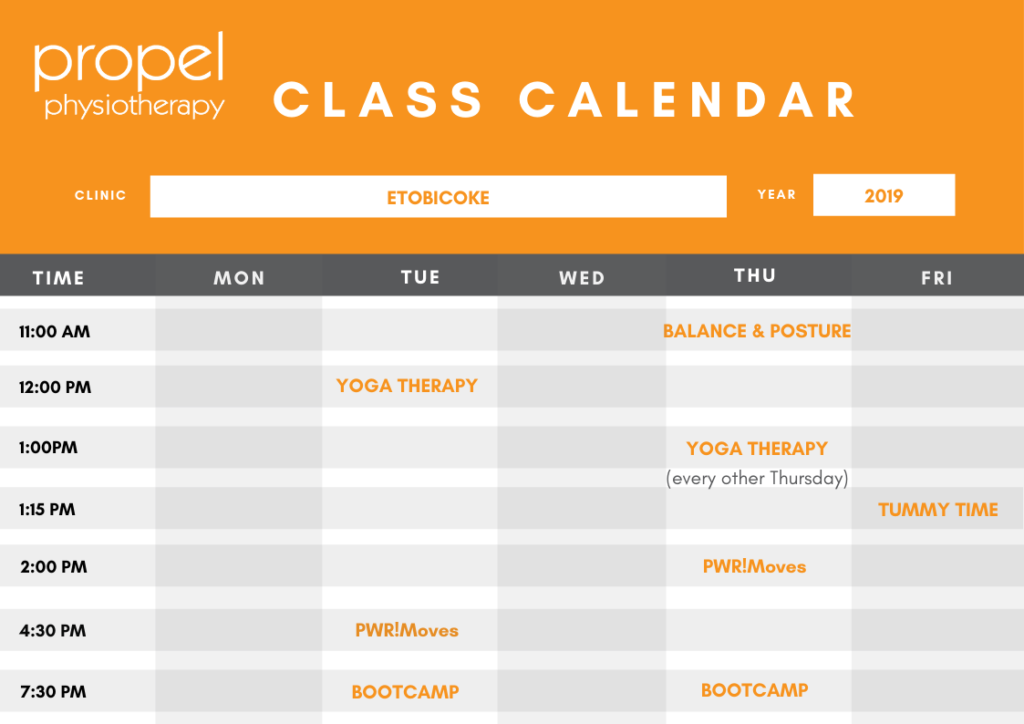 Propel Physiotherapy Group Classes Etobicoke Calendar